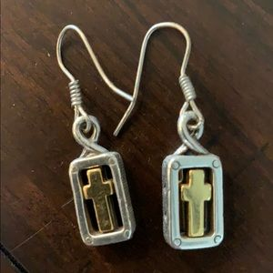 Silver and gold tone earrings